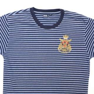 Polo - Blue and White striped cotten Tee with  Emblem - Size 14