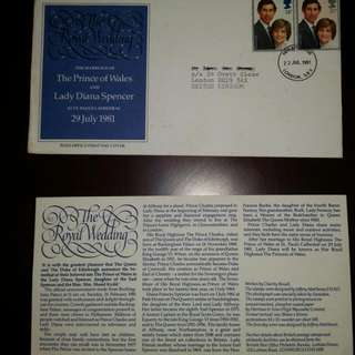The Marriage Of The Prince Of Wales And Lady Diana Spencer- Post Office First Day Cover and Post Card Of Lady Diana. Issued On 22 July 1981.