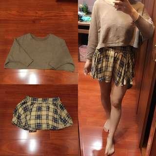 卡其長袖短版上衣+格紋褲裙