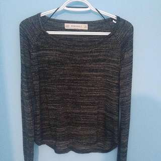 Zara Knit Black And Gold Long Sleeve