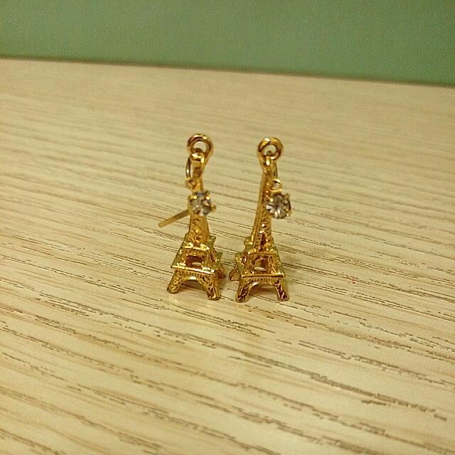 金色法式迷你水鑽巴黎鐵塔耳環