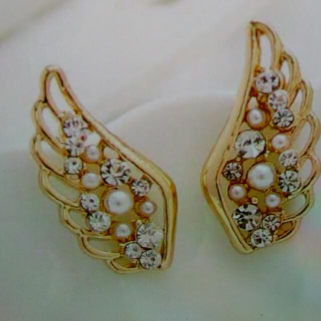 韓版精品天使之翼耳環(飾品出清滿300免運費)