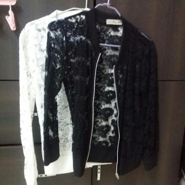 蕾絲小外套 黑/白