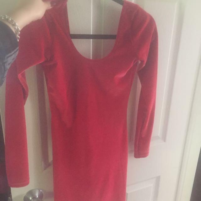 American Apparel Red Velvet Dress
