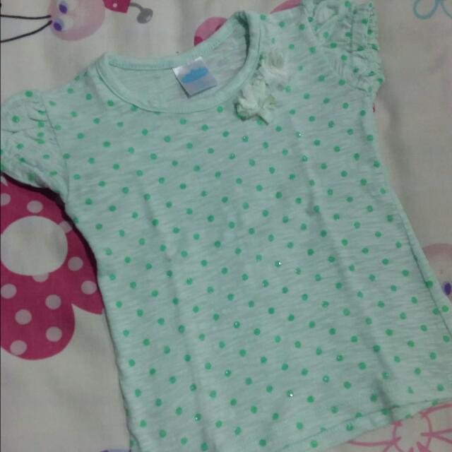 Baby couture Polka Dots green blouse