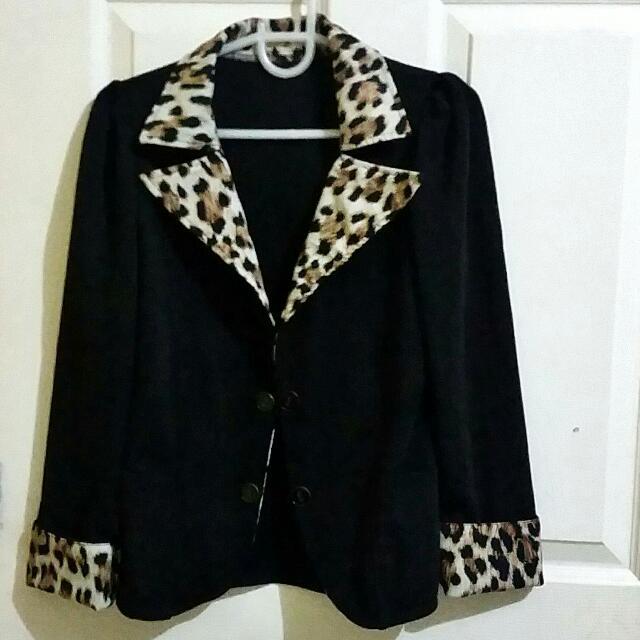 Black Blazer With Leopard Print