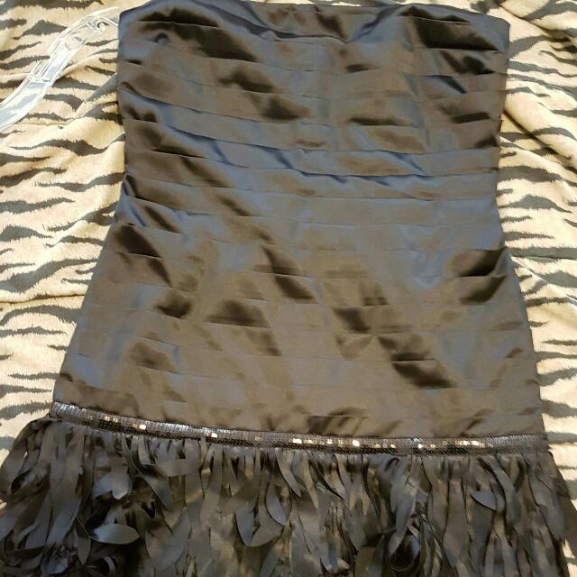 Black Feathery Dress XL