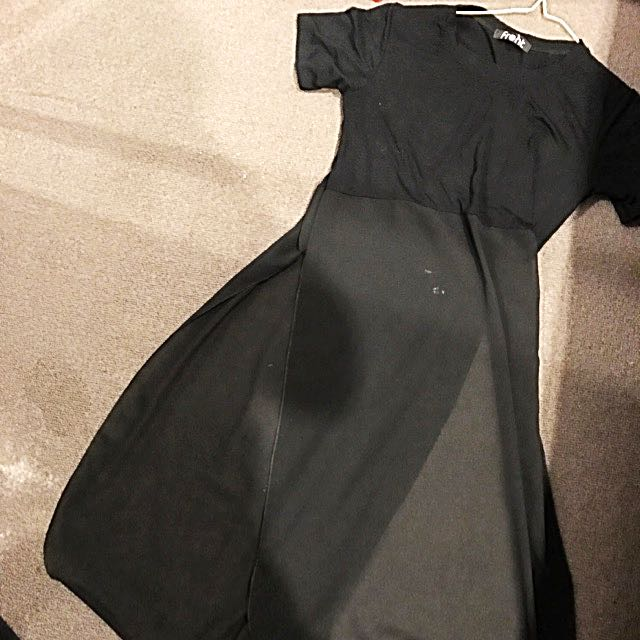 Black Shirt Dress With See-through Split Flap
