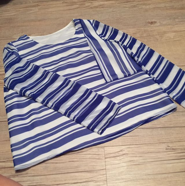 Blue White Stripe Long Sleeves Blouse