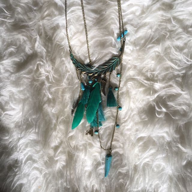Bohemian Tussle Tassel Necklace Kalung Boho Frill Ethnic