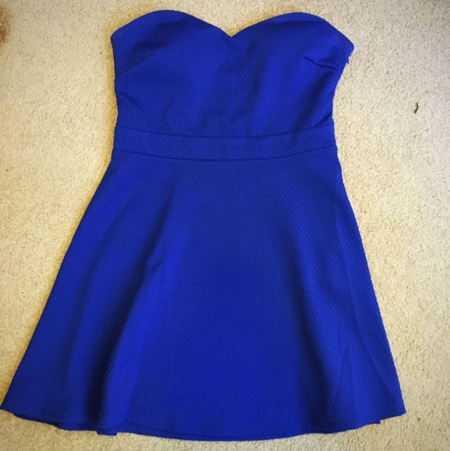 REDUCED Bright Blue Strapless Day Dress