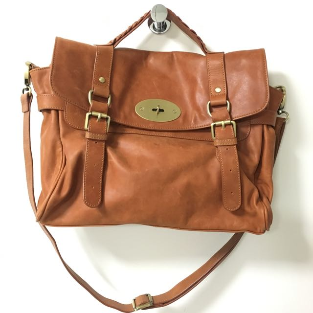 Brown Leather Satchel Bag With Adjustable Shoulder Strap