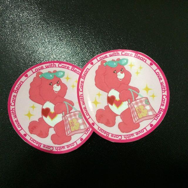 Care Bears愛心彩虹熊粉紅色圓形行李箱登機箱安全帽筆電貼紙