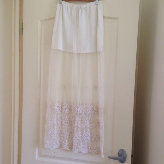 Dissh Sz 8 White Mesh Boho Maxi Skirt