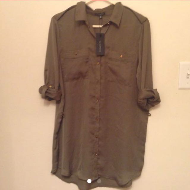 Dynamite Army Green Long Button-Up Medium