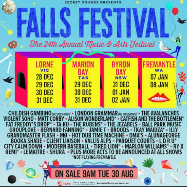 Falls Festival 3 Day Ticket Byron Bay In. Camping