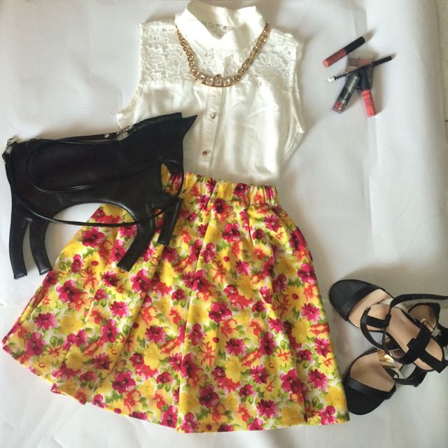 Flower Mini Skirt Yellow
