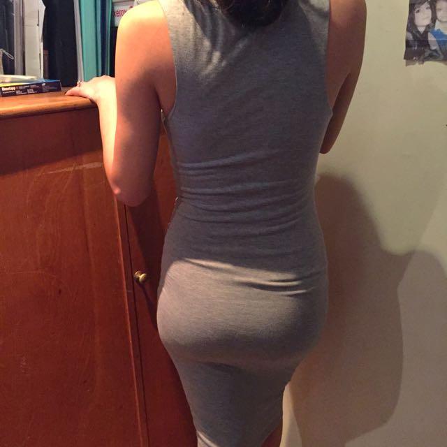 Grey Midi Bodycon Dress Size 6