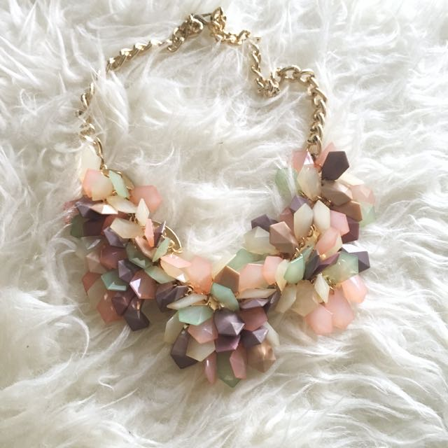 Kalung Pink Stud Necklace Pastel Shabby Chic