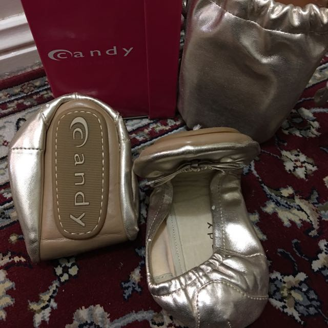 Only Worn Once Candy Golden Ballerina Shoes +pouch+box