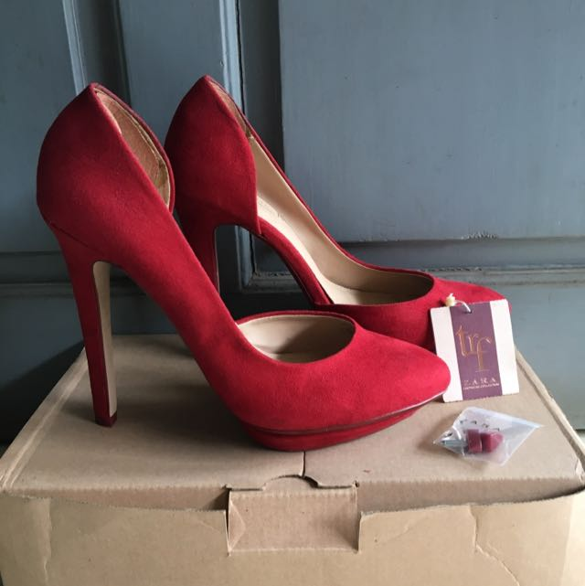 original zara rojo rouge red heels