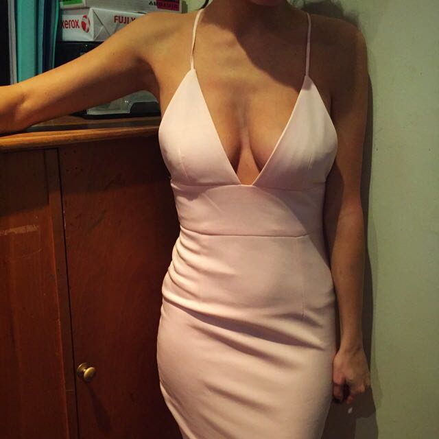 Pink Bodycon Fitted Midi Dress Size 6