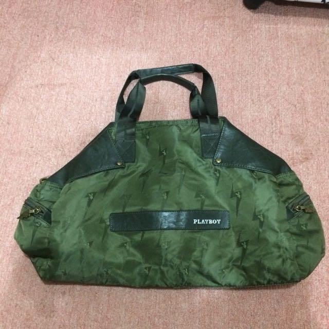Playboy 閃電⚡️兔 軍綠色 旅行包 行李袋