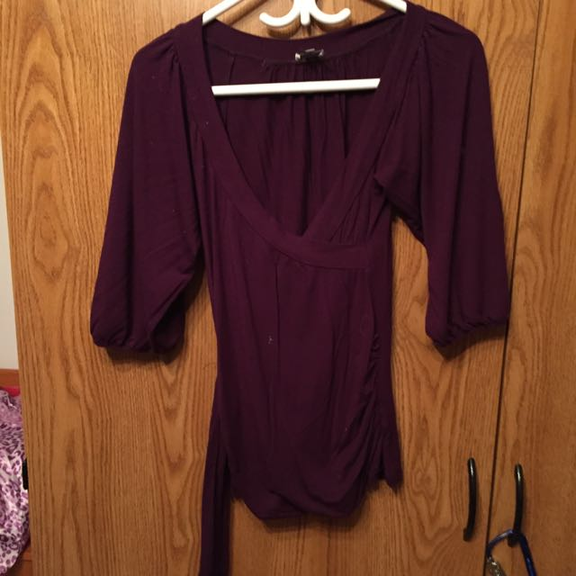 Purple Shirt With Wrap Around Tie Up