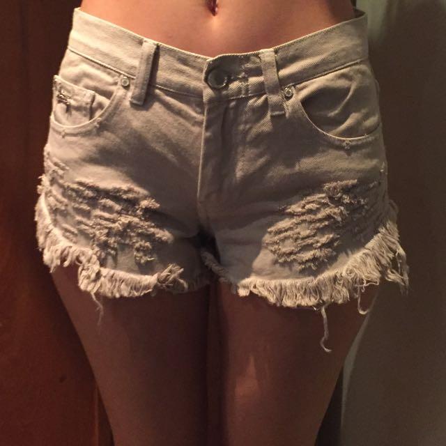 Stussy Denim Ripped Shorts Size 6