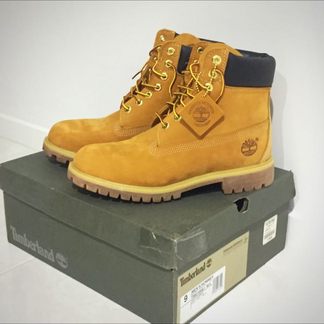 "Timberland 6"" Waterproof Premium Classic Boots Wheat Size 9"