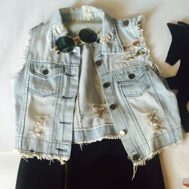 Vest Jeans Denim Stud Ripped