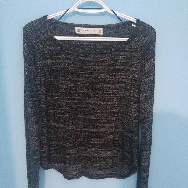 Zara Knit Black And Gold Long Sleeve