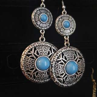 Silver And Blue Large Dangle Earrings