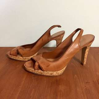 Fiori Faux Leather Cork Heeled Sandal Size 8.5