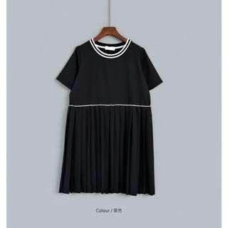(711含運)學院風線條滾邊百褶裙襬寬鬆連身裙(雪紡洋裝)