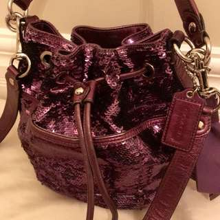 Purple Sequin Coach Handbag