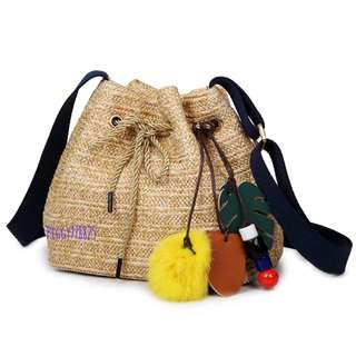 韓版草編織水桶單背斜背包