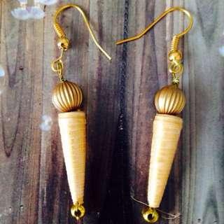 Gold Paper beads Earrings Handmade
