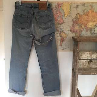 Vintage Levi's 501 High Waisted Jeans With Rip