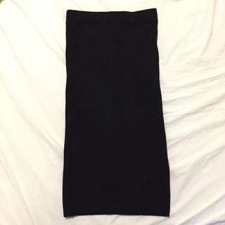 Black Knitted Pencil Skirt
