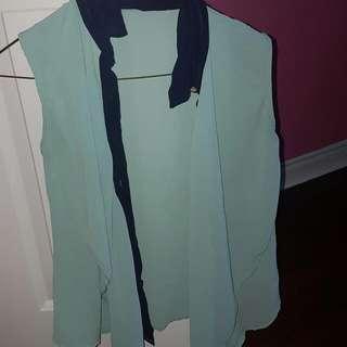 Mint Green/blue Button Shirt