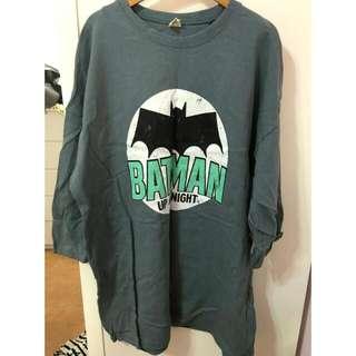 正韓蝙蝠俠寬鬆男友風長版T 洋裝