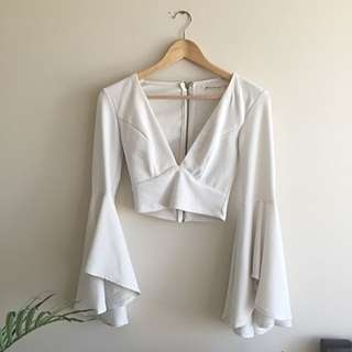 White Cropped Flowy Batwing Top Sz 6-8