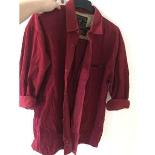 Corduroy Red Suede Button Up