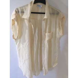 See Through Off White Button Up