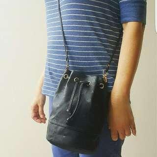 Authentic MCM Small Bucket Drawtring Sling Bag