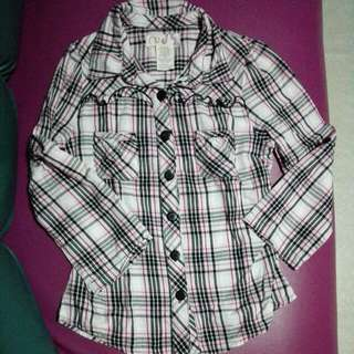 RESERVED Op Checkered Cotton Long Sleeves M(7-8)
