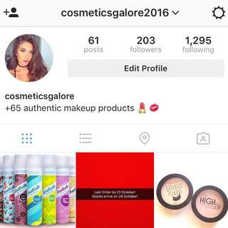 Follow @cosmeticsgalore2016 On Instagram For Makeup Products!!!!