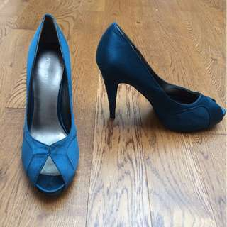 Nine West Peep-toe Emerald Shoes - size 8 - worn once!