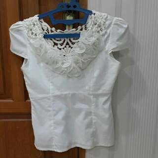 Ivory White Pearl Blouse